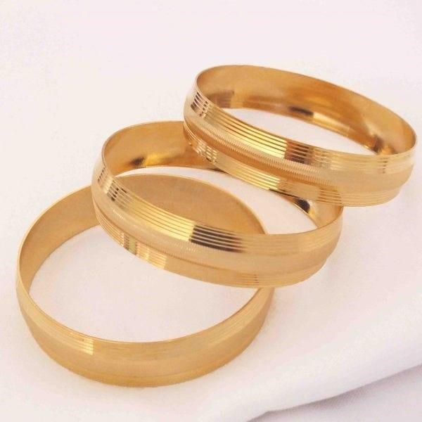 Altın Kaplama Dikey Çizgili Bilezik 15 mm Kalınlık