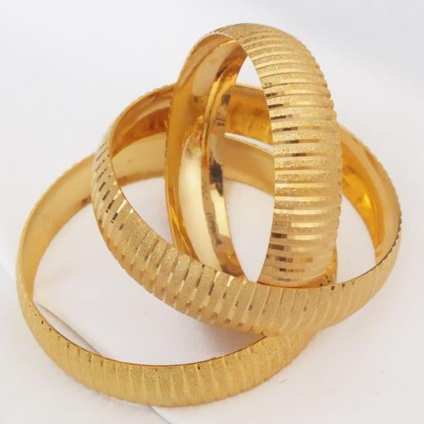 FerizZ Düz Çizgili Altın Kaplama Bilezik 15mm