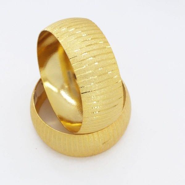 Altın Kaplama Mega Çizgili Bilezik 30mm Kalınlık