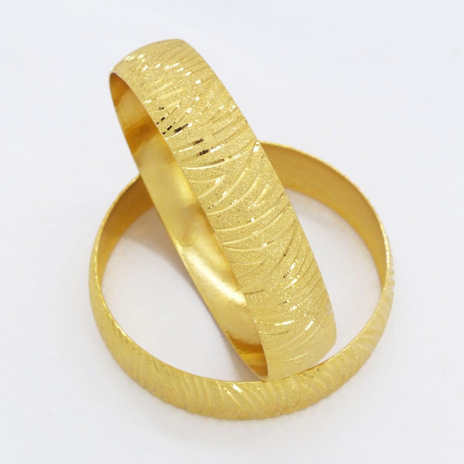 Altın Kaplama Kaz Ayağı Model Bilezik 15 mm Kalınlık