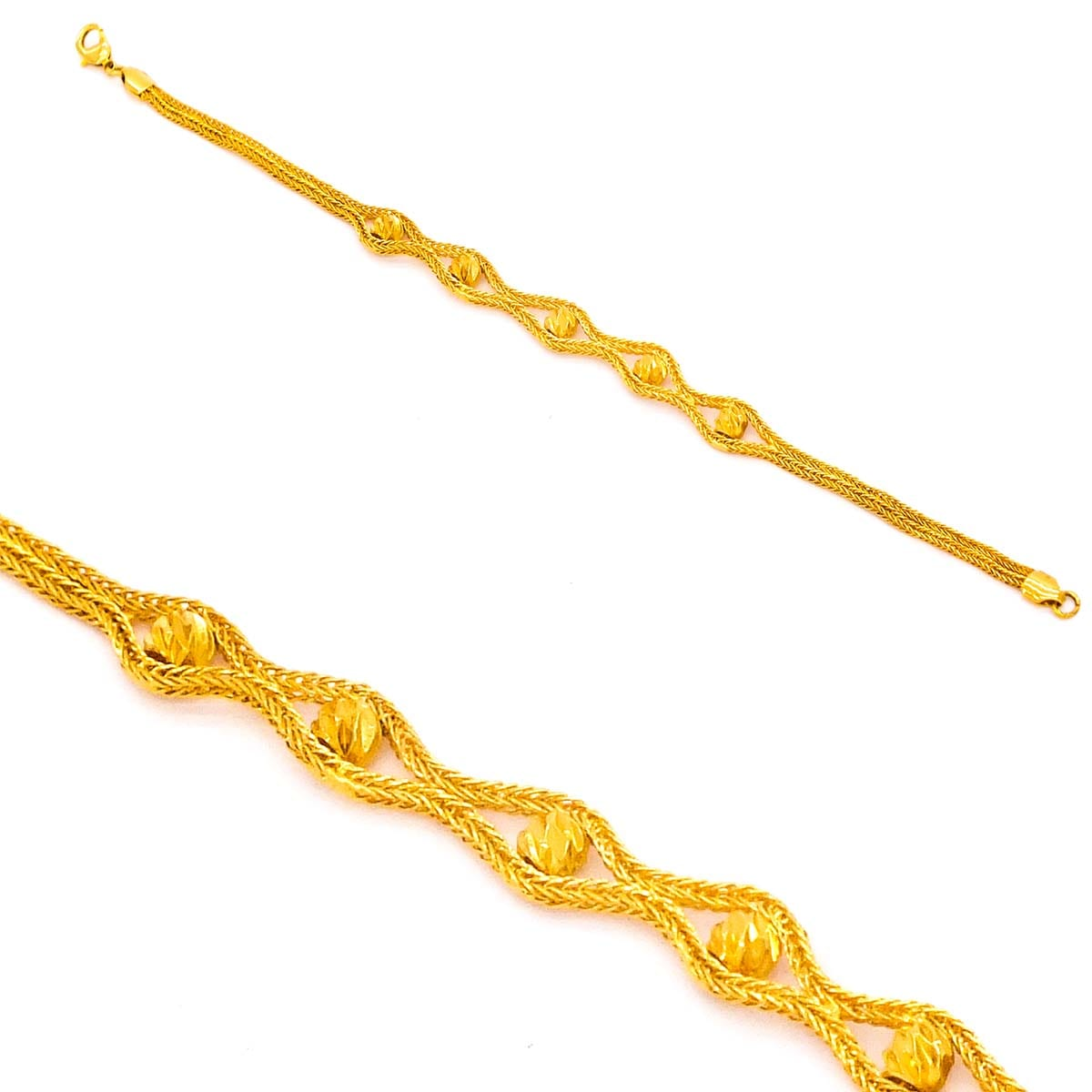FerizZ 22 Ayar Altın Kaplama Spor Zarif Dorika Bayan Bileklik 19cm-23.5cm Boy BLK-314