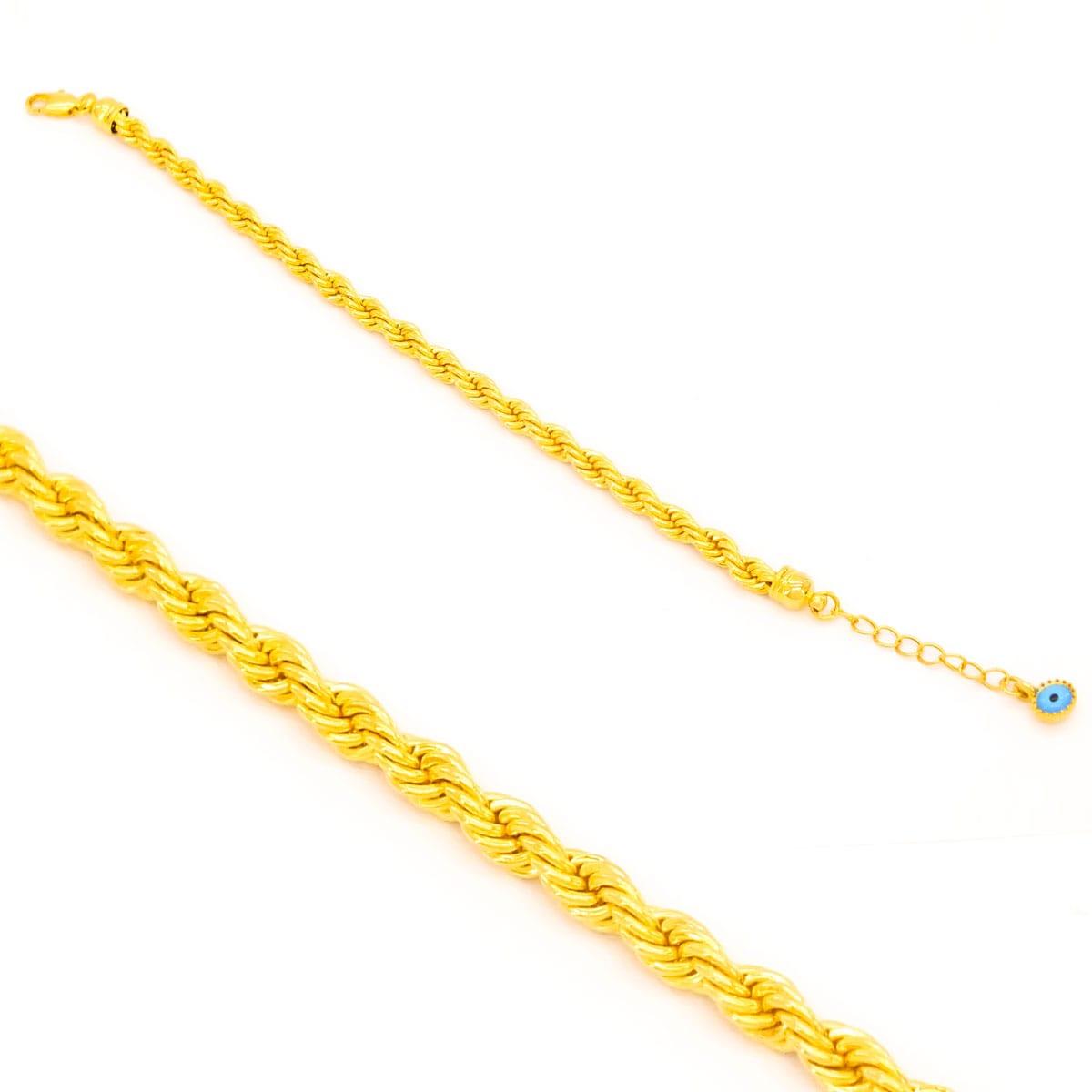 18 Ayar Altın Kaplama Nazar Boncuklu Burgu Zincir Bileklik 18cm-23.5cm Boy BLK-324