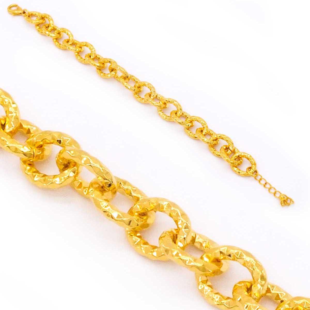 22 Ayar Altın Kaplama İşlemeli Kadın Zincir Bileklik 21cm-24cm Boy BLK-215