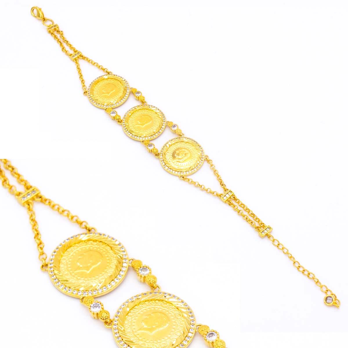 Altın Kaplama 3 Çeyrekli Bileklik BLK-154